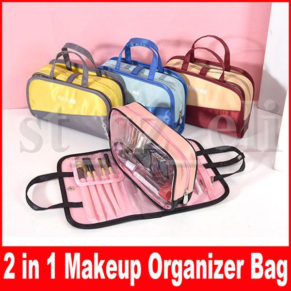 Cosmétique Organisateur Élégant Brosse Poche Maquillage Sacs Portable Maquillage Cas Trousse De Toilette Wash Bag 2 en 1 Pochette Pour Femmes Filles