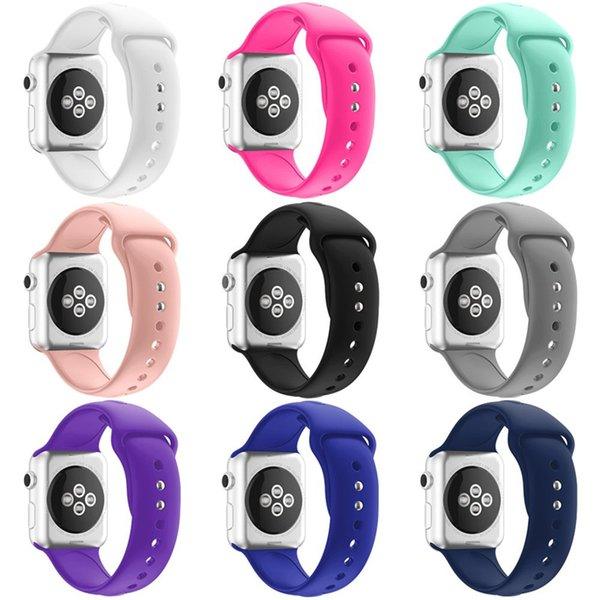 Double buckle Soft Silicone Sport Watchband for Apple Watch 4 bands 40mm 44mm Replacement Wrist Strap for iWatch 1/2/3 38mm 42mm