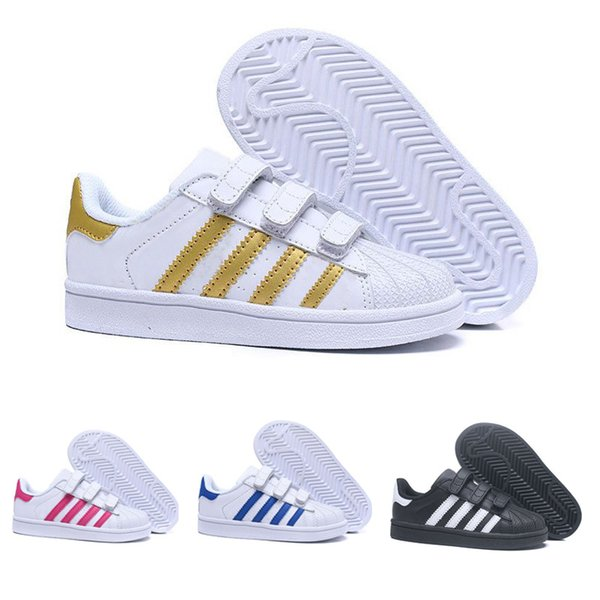 Acheter Adidas Superstar 2019 Top Qualité Enfants Superstar Chaussures Blanc Or Bébé Enfants Superstars Baskets Originals Super Star Filles Garçons