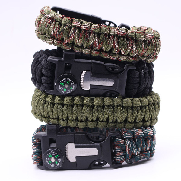 top popular 23cm Multifunctional Outdoor Paracord bracelet Paracord survival bracelet Compass Emergency Whistle Knife and Scraper Free shipping 2019