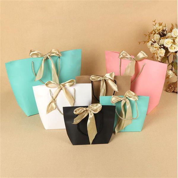 5 couleurs papier cadeau sac boutique vêtements emballage sacs avec ruban arc élégant paquet en carton sacs à provisions pour emballage présent