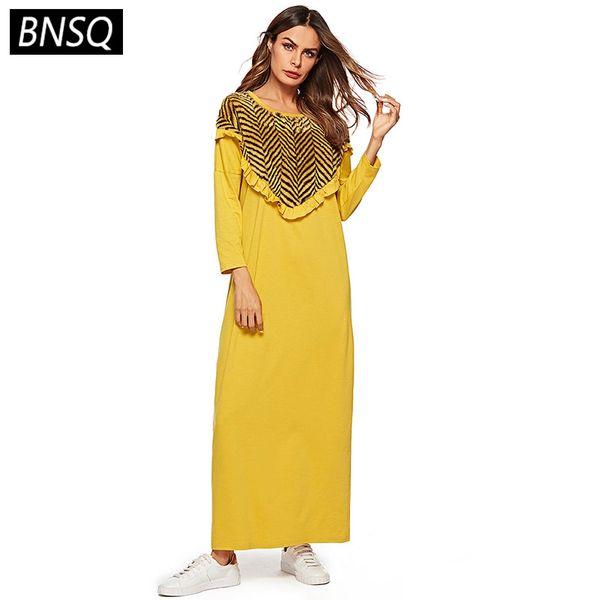 BNSQ Spring 2019 Women Maxi Dress Loose Plus Size Straight Long Dress  Yellow Fashion Plush Patchwork Long Sleeve Dresses Female Semi Formal Dress  ...