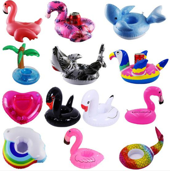 top popular Inflatable Toy Drinks Cup Holder Watermelon lemon flamingo Pool Floats Coasters Flotation Devices For Kid Children Pool parties Bath Toy 2021