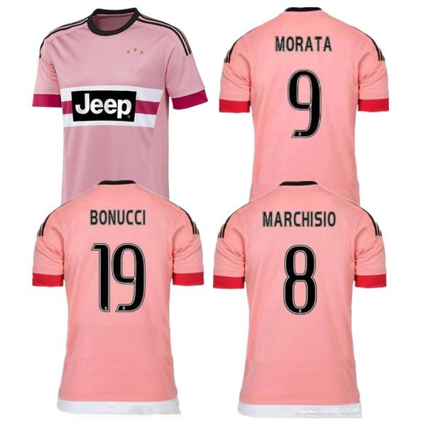 huge discount a3b10 37d87 2019 2015 Retro Juventus Pink Italy POGBA SOCCER JERSEY 15 16 RONALDO  DYBALA MANEZUKIC MORATA HIGUAIN MARCHISIO BUFFON Pink FOOBALL SHIRT From ...