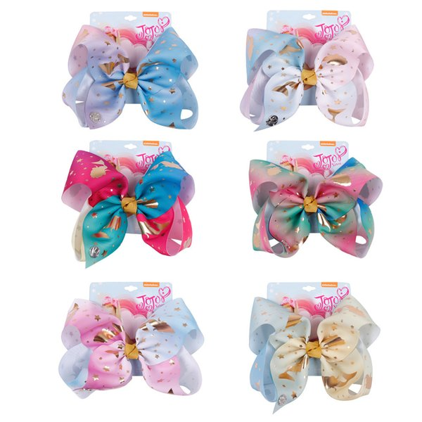 8 Inch Big Diamond Unicorn Hair Bow With Clip Colorful Rhinestone Hair Bow For Girl Crystal Bow Mermaid cute bows for girl 665