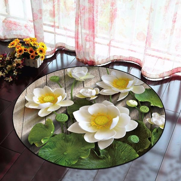 3d Lotus Round Carpet For Living Room Parlor Bedroom Chair Rugs