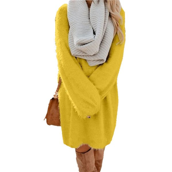 Rosa preto de pelúcia Plus Size longo Camisolas Branco Amarelo Batwing Mulheres luva de Natal Sweater Dress Outono Inverno Jersey Jumper
