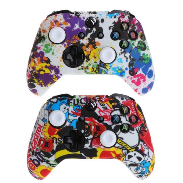 Venda quente Popular Silicone Gamepad Cover + 2 Joystick Caps Para XBox One X S Controlador Caso Pele Protetora
