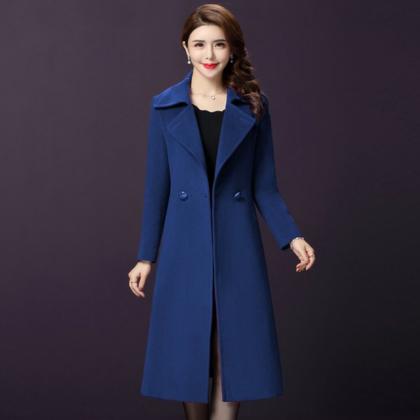 Office Lady Slim Mujeres Abrigo largo de mezcla de lana de invierno Cuello vuelto Abrigo de lana y chaqueta Ropa de abrigo de un solo pecho