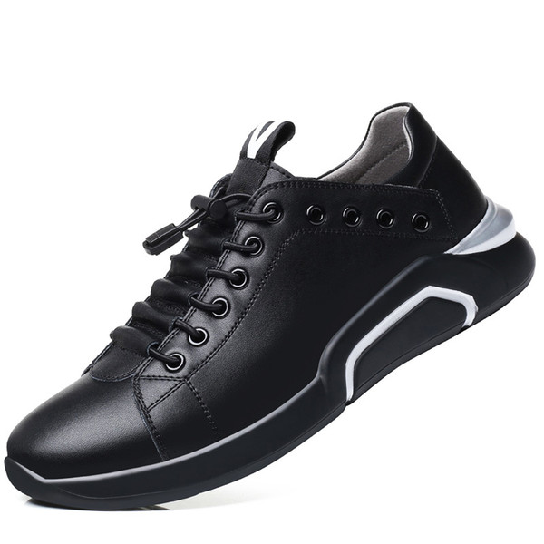 Height increasing shoes for men genuine leather sneakers 38-44 solid warmproof shoes with without cotton thick heel loafer zy345