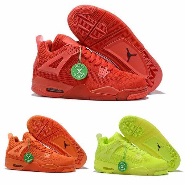 HAVA 2019 Erkekler 4 s 4 basketbol ayakkabıları Erkekler sneakers dokuma Oyun Kırmızı Mavi Yeşil Turuncu j4 hava uçuş botları a4 spor ayakkabı 7-13