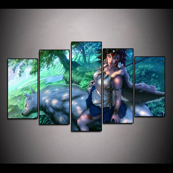5Pcs Princess Mononoke Cartoon Figure Oil Painting Poster Wall Art HD Print Canvas Painting Fashion Hanging Pictures