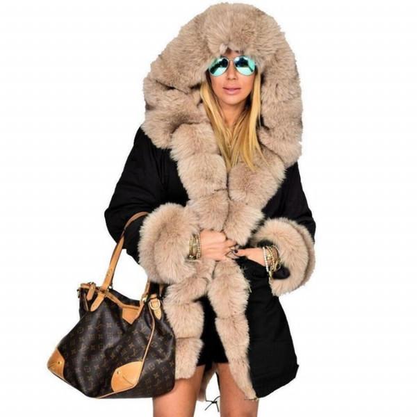 New High Grade Faux Fur spesso strato di modo di inverno delle donne Faux Fur Coat Giacche Slim lungo cappotto caldo