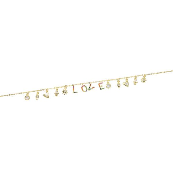925 ayar gümüş sevgilisi kolye şanslı sembol bırak charm gökkuşağı L O V E mektubu charms kişiselleştirilmiş sevgililer hediye