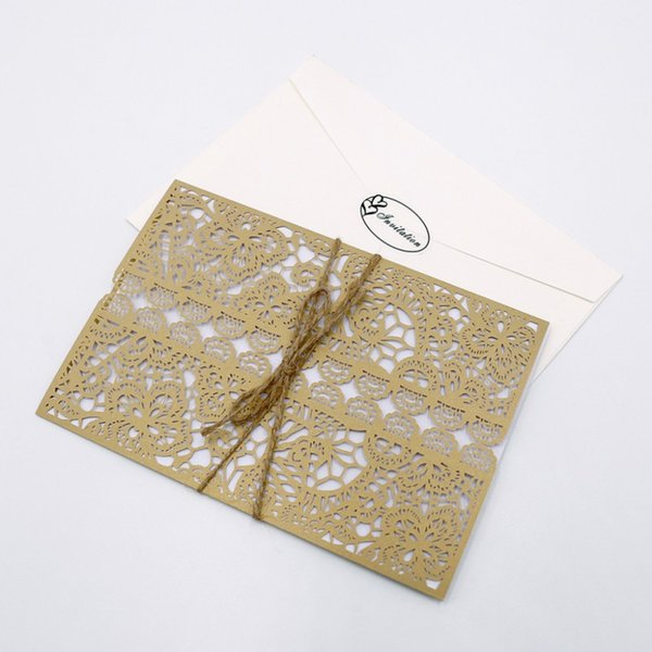 10PcsButterfly Hollow Wedding Invitation Paper Cards And Cover Kit For Party Decoration Birthday Shower Graduation Business Baby