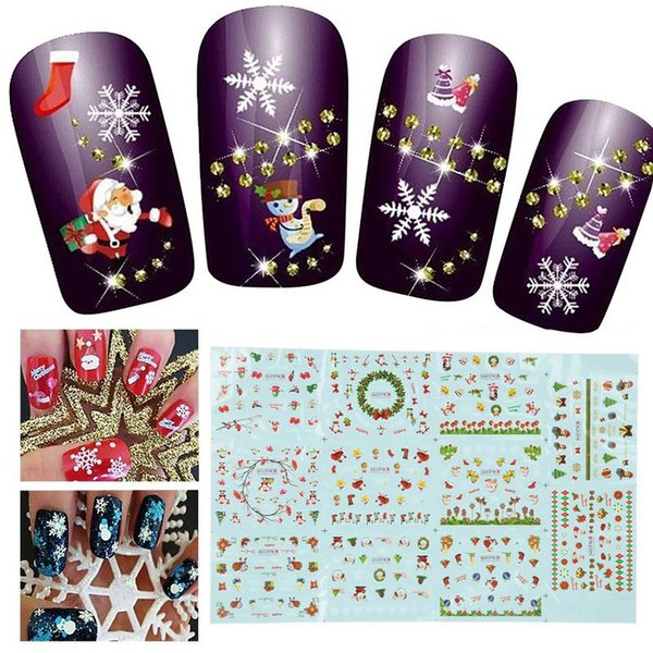 1 Sheet Christmas 3D Nail Art Stickers Snowflakes & Cute Snowmen Nail Decals Art Decoration Tattoo Manicure Wraps Tools
