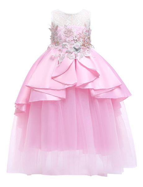 Open Back Fluffy Dress Girl - Fiocco in pizzo senza maniche con stampa floreale a fiori Mesh Pink Blue Shrimp Pink Light Purple 1