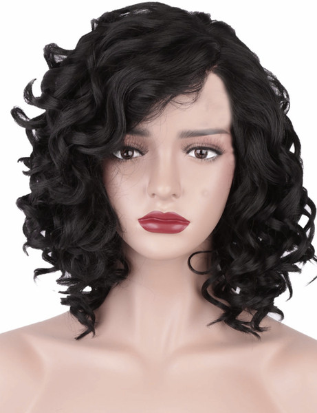 African black short curly hair ladies Europe and the United States partial oblique bangs long curly hair black realistic small curly hair