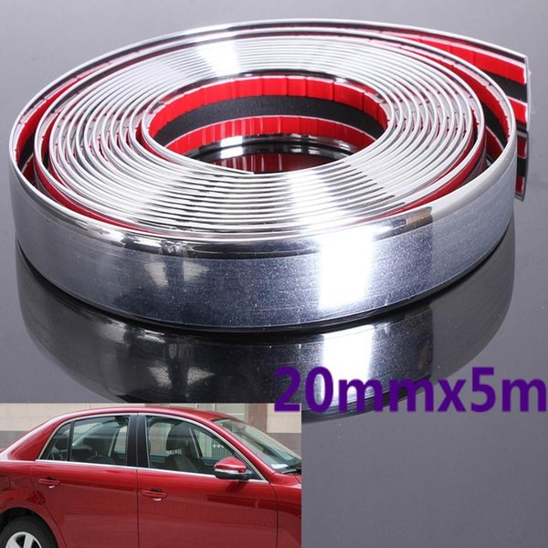 20mm 5M Auto Car Styling Decorative Moulding Strip Trim Self Adhesive Protecter Decal Chrome Styling Van