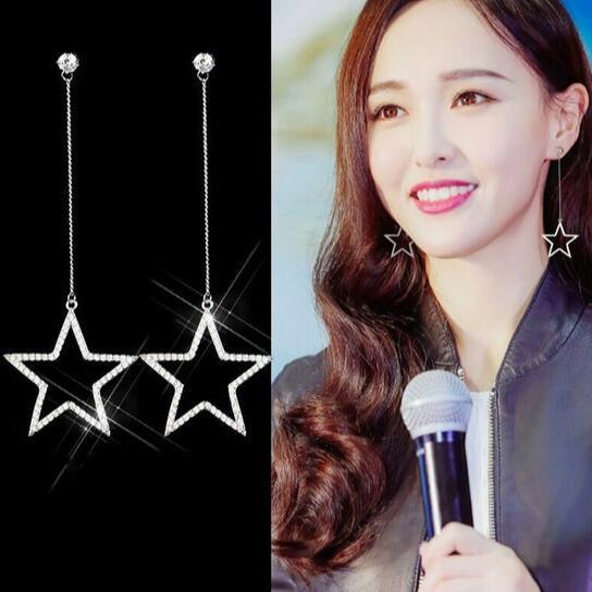célèbre designer Sweet strass boucles d'oreilles étoile à cinq branches boucles d'oreilles zircon flash percer oreille longue oreille gland boucles d'oreilles