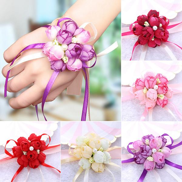 Boda Imitación Muñeca Flor Dama de honor Hermanas Muñeca Ramillete Decoración de la boda Nupcial Prom Mano Flor 5 estilos RRA1910