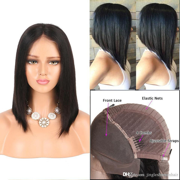 Jingleshair cheap Raw Indian Remy human hair lace front wigs Virgin human hair ear-to-ear lace front Wigs Straight bob cut free shipping