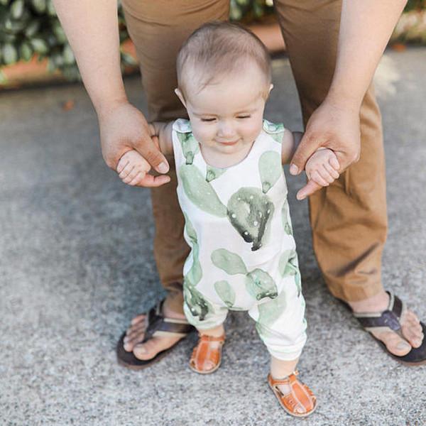 Bebê recém-nascido infantil meninas do menino cacto impressão sem mangas de algodão longo one-piece macacão crianças playsuit jumpsuit outfits sunsuit unisex