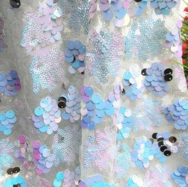 Fashion Color sequins embroidered polyester mannequin fabric dance dress diy home textiles wedding cloth mesh laser sexy fabric C585