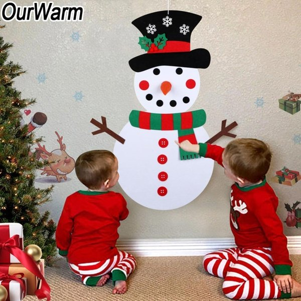 Ourwarm Christmas Diy Felt Snowman New Year Gift Kids Toys With Ornaments Door Wall Hanging Kit Christmas Decorations For Home Y19061103