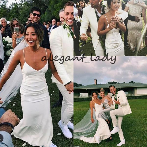 Simple Design Beach Mermaid Wedding Dresses 2019 Spaghetti Backless Stain Summer Holiday Party Kelia moniz Wedding Gown