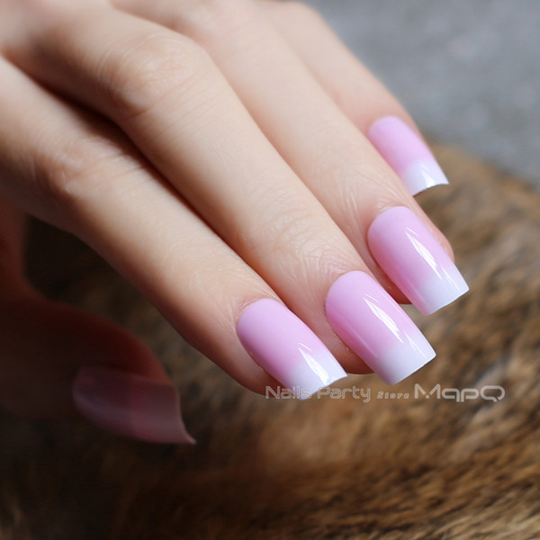 fake nails pink natural texture 24pcs full sets glossy false nails french translucent nude long Square Easy to wear Free ship