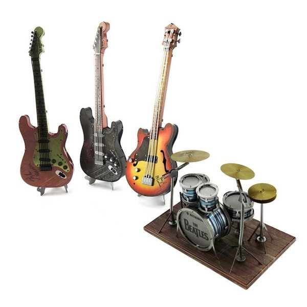 best selling Colour Stereo Metal Mosaic DIY Assembly Model Creative Jigsaw Puzzle Mini Metal Musical Instruments Interesting Gifts for Kid
