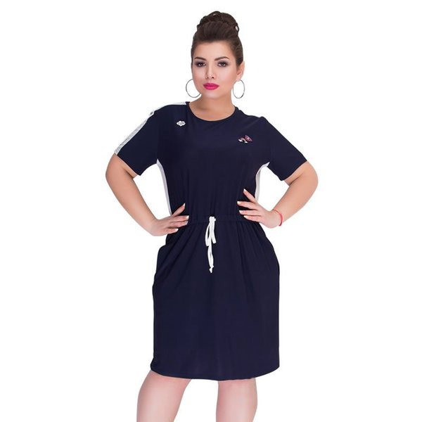 2019 Summer Plus Size Clothing Short Sleeve Straight Casual Large Women 5xl 6xl Big Dress Vestidos J190622