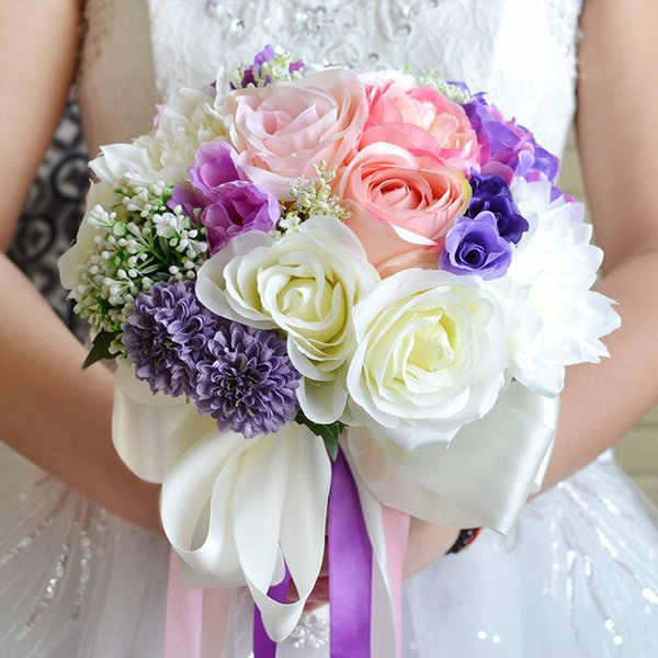 Silk Flowers Bridal Wedding Bouquet Wedding Decoration Pink+Purple Artificial Flower Bridesmaid Bridal Hand Holding Brooch Flowers