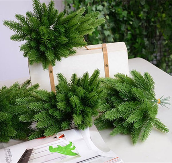 Artificial Christmas Tree Branches.2019 Artificial Pine Tree Branches Plastic Pine Leaves For Christmas Party Decoration Faux Foliage Fake Flower Diy Craft Wreath Q190429 From