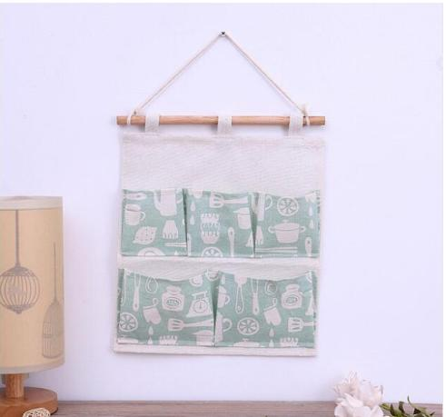 29.5*31CM Ins Cooking Utensils Cotton Linen Door Hanging Bag 5 Pockets Wall Mounted Storage Bag Sundries Organizer Pouch Waterproof Bag