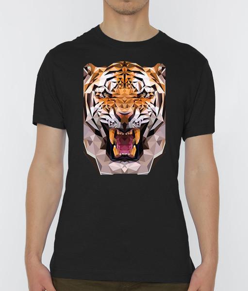 Roaring origami tiger graphic Men's Black T-Shirt Sizes S-XXL Top Free Shipping T-shirt Harajuku Summer 2018 Tshirt