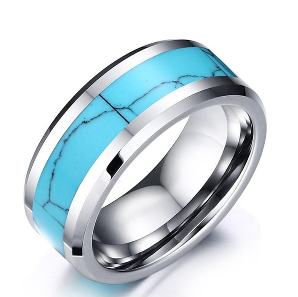 ZHF Jewelry Top Quality Laser Engraving 8mm Men\'s Silver Tungsten Carbide with Turquoise Inlay Wedding Rings