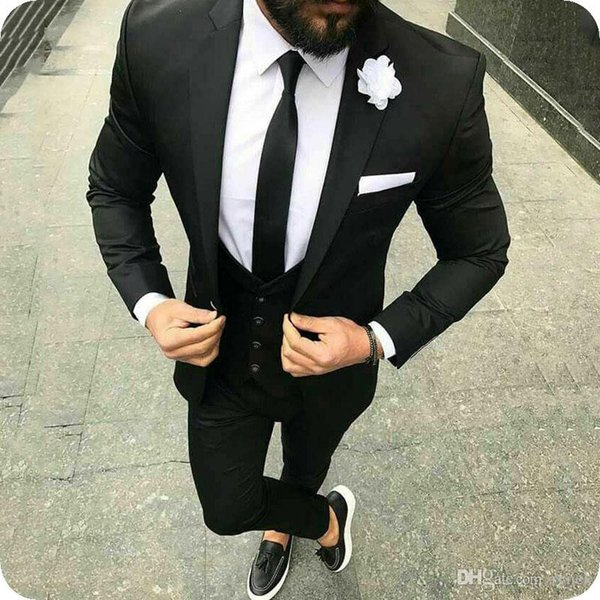 Latest Coat Pant Designs Black Men Suits Groom Wedding Tuxedos 3Piece Notched Lapel Slim Fit Bridegroom Blazer Costume Homme Terno Masculino