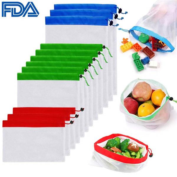 Sacs réutilisables de produit de maille Sac de maille de cordon de tissu à double couture piqué écologique pour le stockage de voyage de fruit de Food-Shopping ensemble de 12