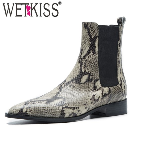 WETKISS Snake Print Cow Leather Women Ankle Boot Pointed Toe Footwear  Female Boots Fashion Shoes Woman Spring 2019 New
