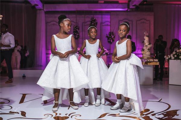 Simpatico africano merletto bianco Abiti da sposa nuovi Hi-L'aperto indietro principessa della ragazza formale Pageant Abiti 2020 nuova promenade di sera abito da sposa