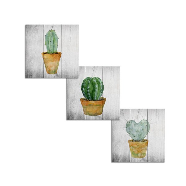 Free Shipping Unframed Vintage Grey Succulent Plants Cactus Painting Art Prints on Canvas Wall Poster(30x30cmx3)