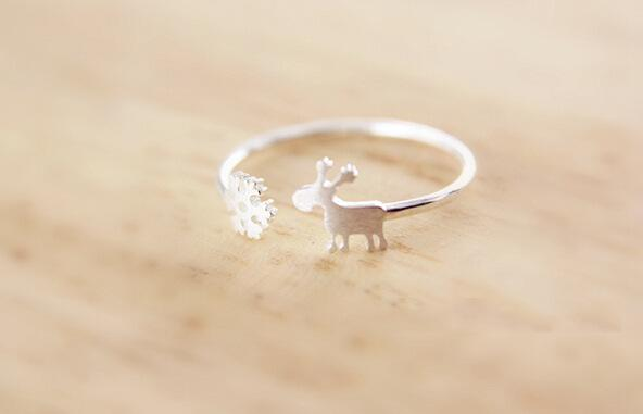 New S925 sterling silver small fresh simple snowflake deer brushed ring jewelry GR05