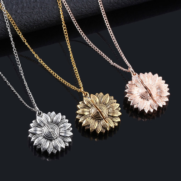 Sunflower Lettering Necklace Alloy Flower Double-layer Short Clavicle Chain You Are My Sunshine Charm Pendant Necklace TTA1994-2