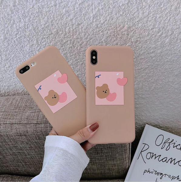 Aşk Ayı Sevimli Apple Xsmax Cep Kabuk 8 artı Silikon iPhoneX / 7 p / 6 s için XR Sevimli Kadınlar Çift