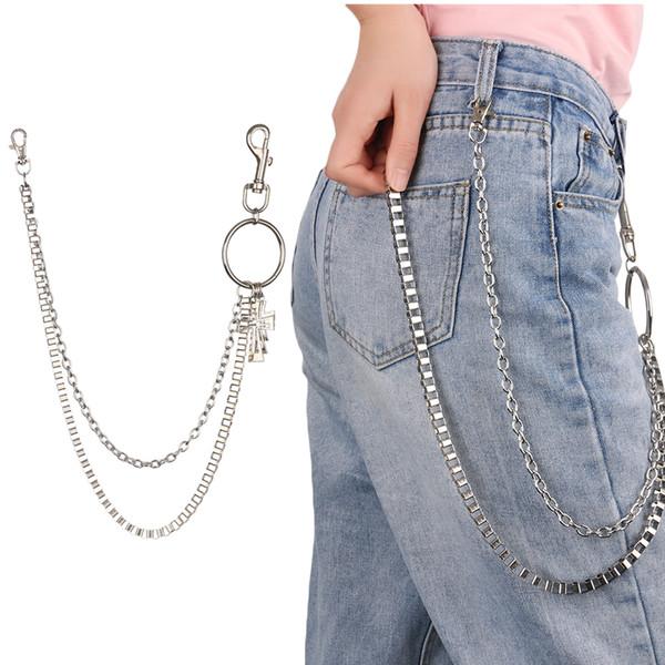 1Pc New 64cm Metal Hollow Cross Rock Punk Key Chains Clip Hip Hop Jewelry Pants KeyChain Wallet Chain Belt Biker Link Trinket