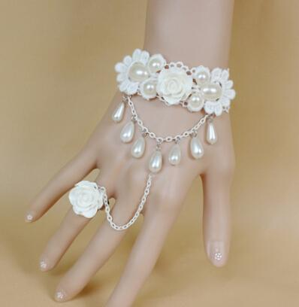Fashion Jewelry Wedding Accessories Princess White Lace Bracelet Rose Pearl sexy Charm Bracelet with ring fashion classic elegant bangle