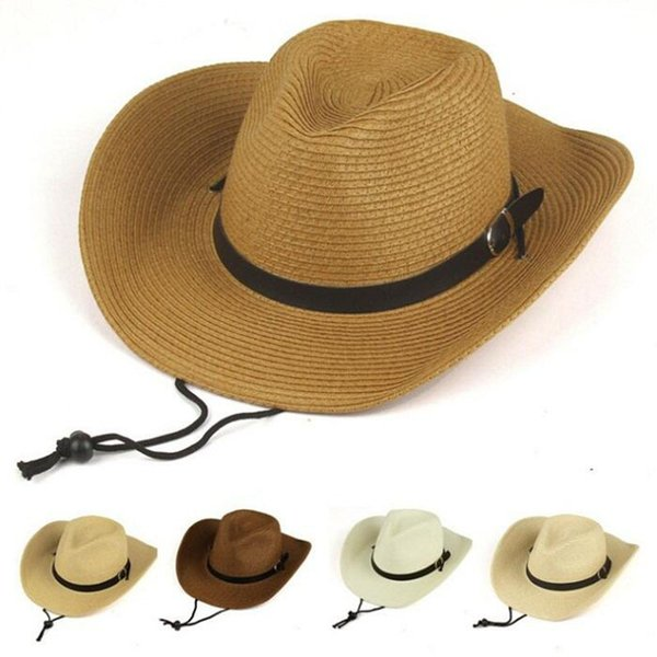 2019 New Summer Men Sun Hat Beach Hats Cap Belt Floppy Straw Hat For Women Boy GIrl
