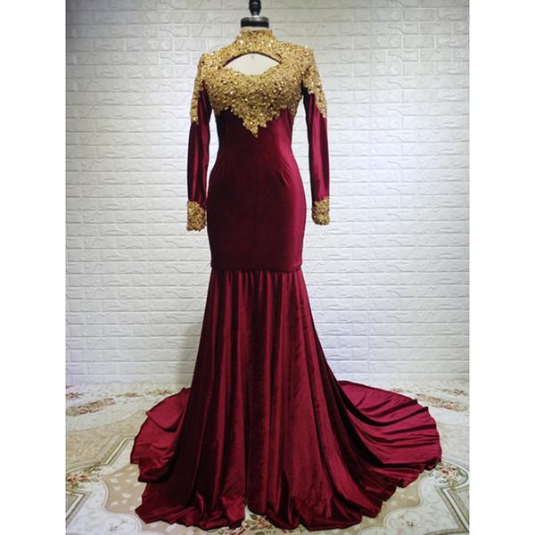 2019 Elegant Dark Red Velour Gold Appliques Beaded 2018 Prom Dress Long Sleeves High Neck Court Train See Though Backless vestido de festa